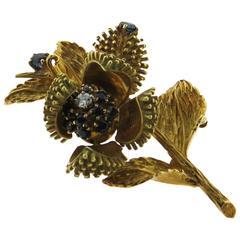 Tiffany & Co. Sapphire Diamond Gold Flower Movable Flower Brooch Pin