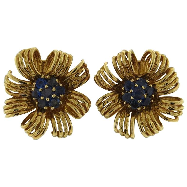 1960s Tiffany & Co. Large Sapphire Gold Flower Earrings