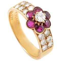 Van Cleef & Arpels Ruby Diamond Gold Flower Ring