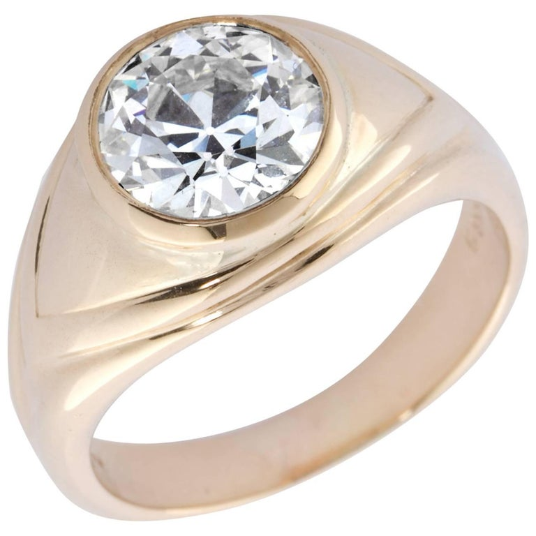 Old European Cut 2.86 Carat Diamond Gold Bezel Set Gypsy Ring For Sale