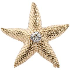 1.77 Carat Old Mine Diamond Center Gold Starfish Brooch