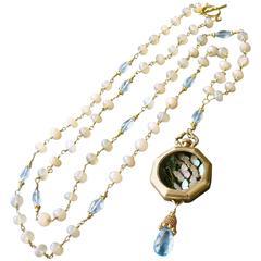Butterfly Kaleidoscope Watch Case Opal Blue Topaz Necklace