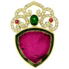 Crevoshay Watermelon Tourmaline Tsavorite Tourmaline Diamond Gold Pendant