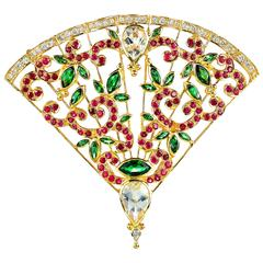Crevoshay Tsavorite Moonstone Ruby Diamond Gold Fan Pendant