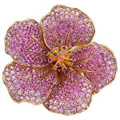 Crevoshay Sapphire Gold Hibiscus Flower Brooch