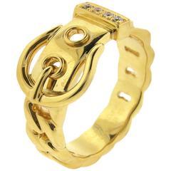 Hermes Paris Diamond Gold Buckle Ring