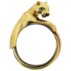 Cartier Panthere Trinity Emerald Onyx Gold Ring