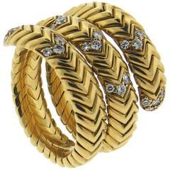 Bulgari Spiga Diamond Gold Wrap Snake Ring