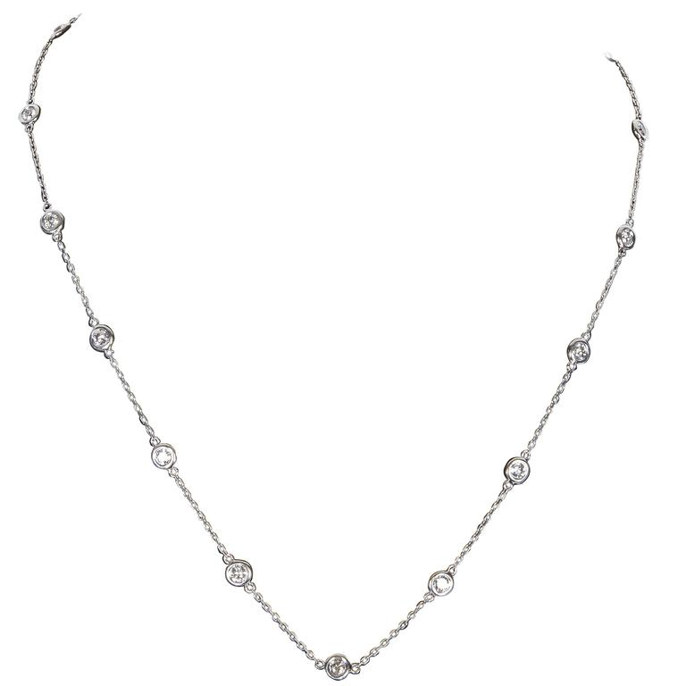 2.29 Carat Diamond Gold Diamond by the Yard Necklace 1