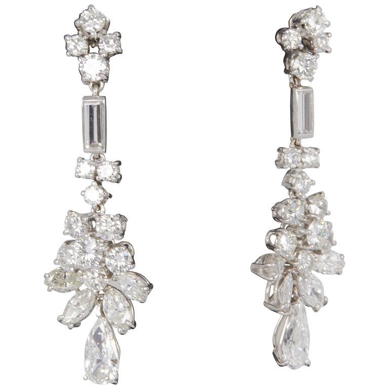 1950s Diamond Platinum Dangle Earrings For Sale At 1stdibs
