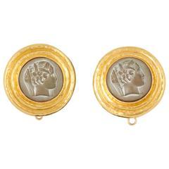 Elizabeth Locke Lava Cameo Gold Earring