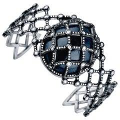 Jade Jagger Caged White Diamond Sapphire Cuff Bracelet