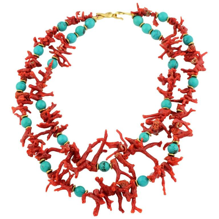 Double Strand of Natural Coral Branches and Blue Faux Turquoise Choker Necklace