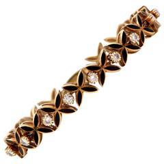 Retro Enamel Diamond Gold Bracelet