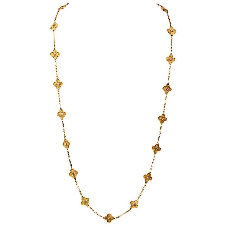 Van Cleef & Arpels  Vintage Alhambra 20 Motif 32 Inch Gold Necklace For Sale