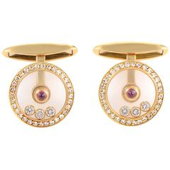 Chopard LUC Ruby Diamond Gold Cufflinks
