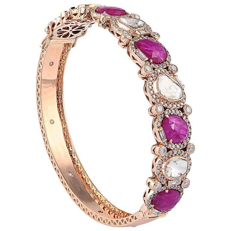 Ruby Diamond Gold Bangle Bracelet