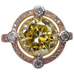 Graff GIA Cert 5.01 Carat Vivid Yellow Diamond Gold Solitaire Ring