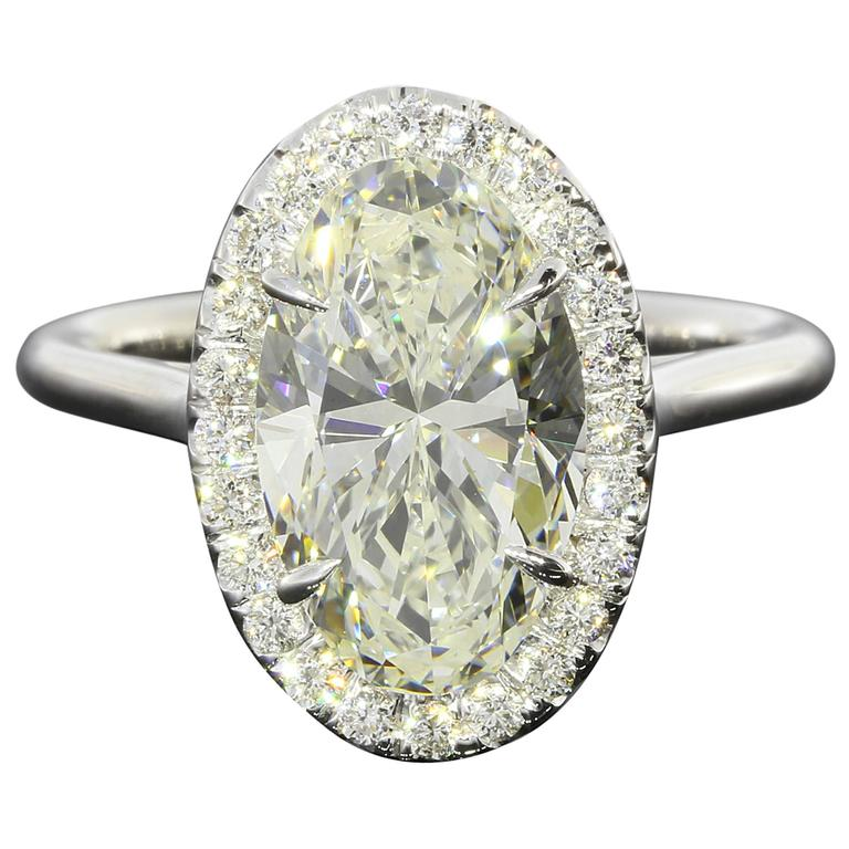 3 33 Carat GIA Cert Oval Halo Diamond Gold Ring For Sale at 1stdibs
