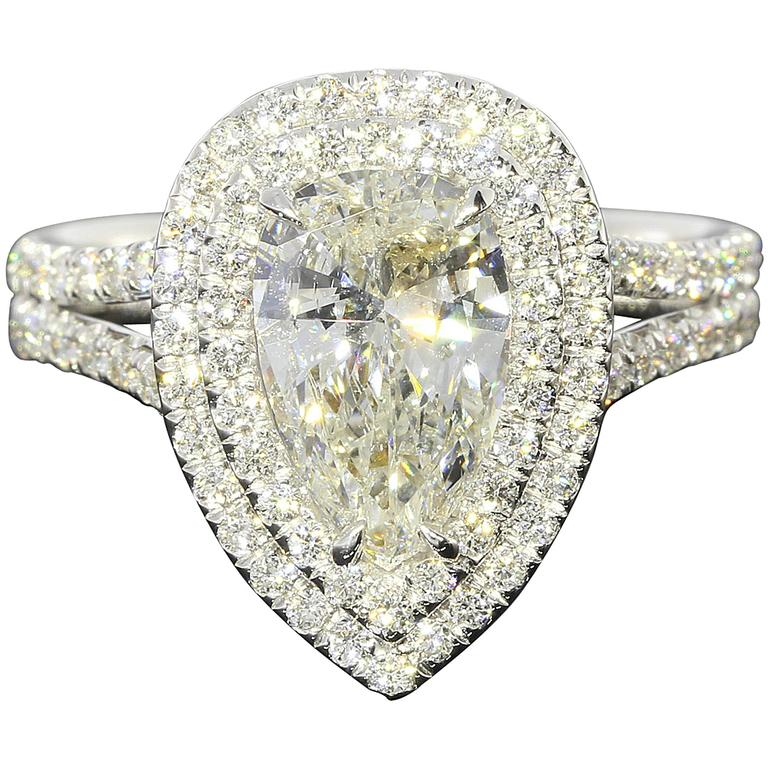 1.52 Carat Pear Diamond Double Halo Gold Ring 1