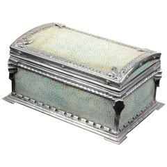 An Arts And Crafts Silver-Mounted Shagreen Casket By Omar Ramsden 1931