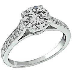 GIA Cert 1.00 Carat Diamond Gold Engagement Ring