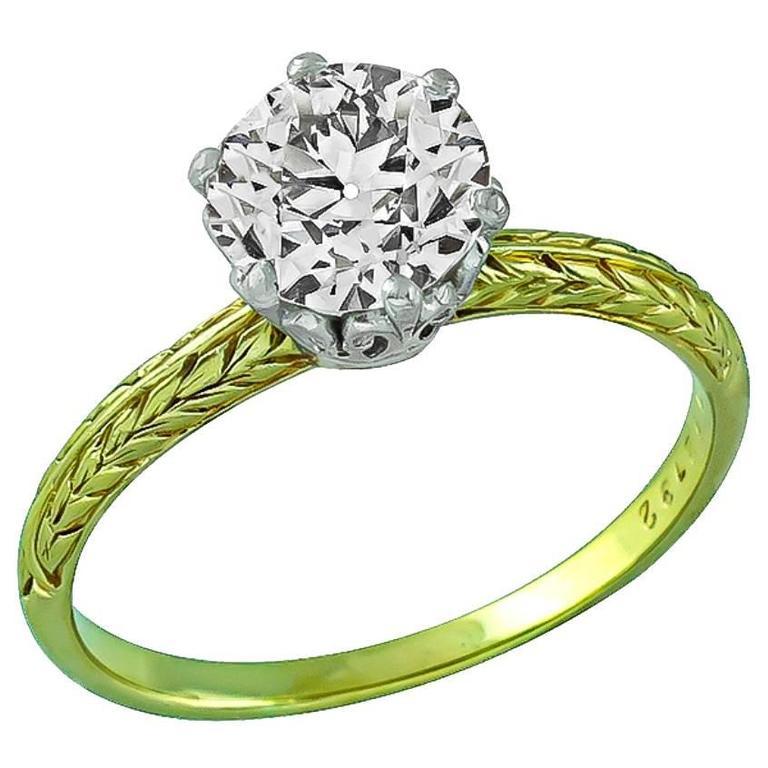 Antique 1.50 Carat GIA Cert Diamond Gold Solitaire Engagement Ring