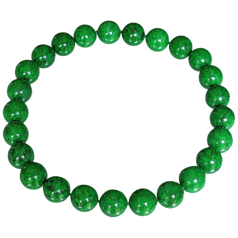 Natural Maw-Sit-Sit Jade Bead Statement Necklace For Sale
