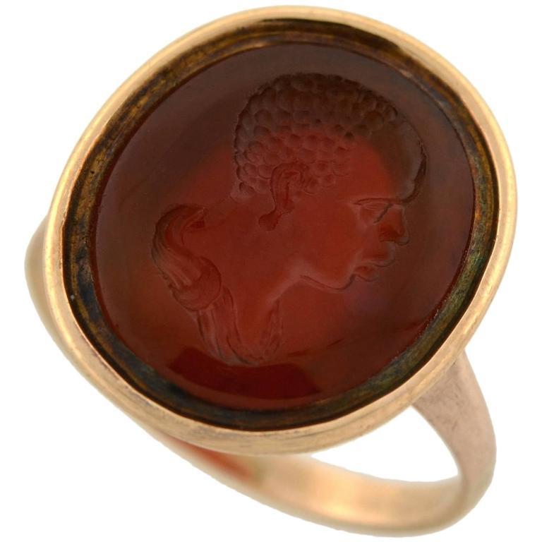 Victorian Rare Carnelian Intaglio Portrait Ring
