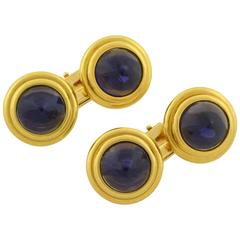 1940s Bulgari Retro Iolite Gold Conical Cabochon Cufflinks