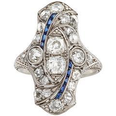 Edwardian North to South Sapphire Diamond Platinum Ring