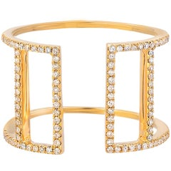 Diamond Ring Yellow Gold Double Bar Ring