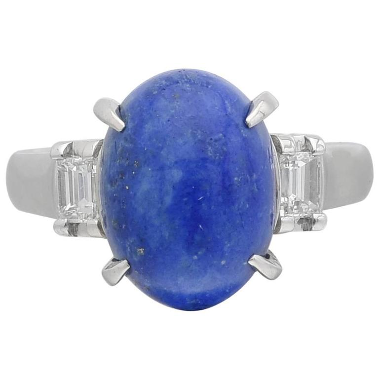 Lapis Lazuli Diamond Gold Three-Stone Ring