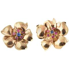 1940s Retro Sapphire Rose Gold Synthetic Ruby Flower Earrings Clips