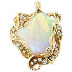 1960s Freeform Australian Gray Broad Flash Opal Diamond Gold Pendant Necklace