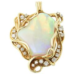 1960s Freeform Gray Broad Flash Opal Diamond Gold Pendant
