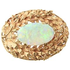 1960s Crystal Opal Gold Grape Vine Design Center Brooch Pendant