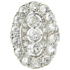 Edwardian Filigree Platinum Diamond Three-Stone Ring