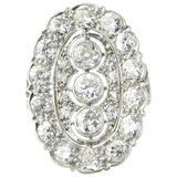Edwardian Filigree Platinum Diamond Three-Stone Ring