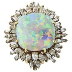 Intense Gray Crystal Opal Diamond Gold Ring
