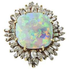 Intense Gray Crystal Opal Diamond Gold Ring