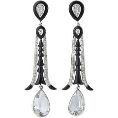Aquamarine Onyx Diamond Gold Dangle Earrings
