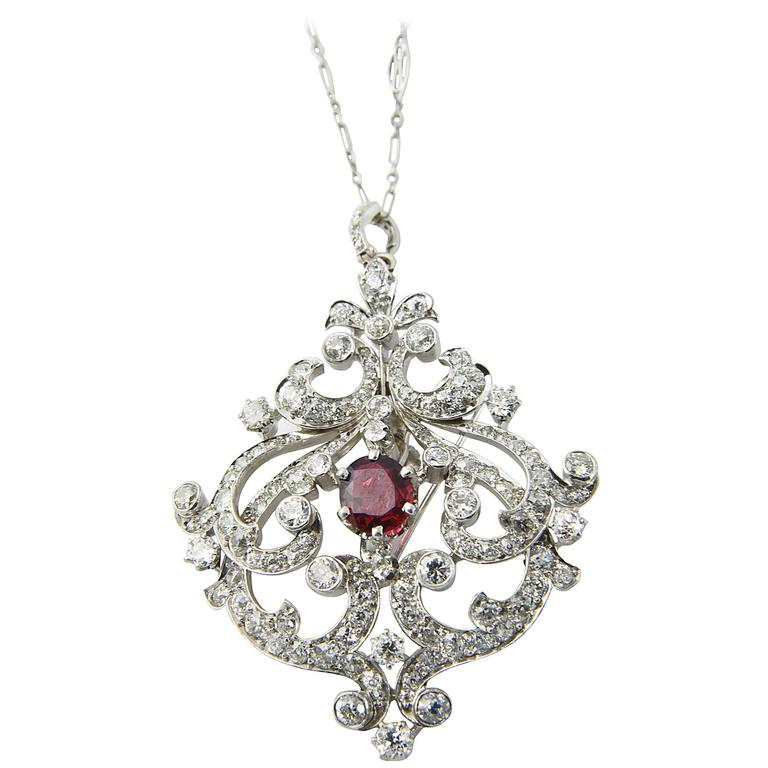Black Starr and Frost Belle Epoque Spinel Diamond Pendant Brooch