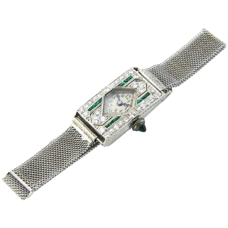 Glycine Platinum Diamond Emerald Art Deco Wristwatch