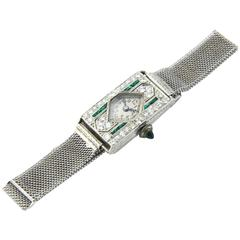 Glycine Platinum Diamond Emerald Art Deco Wristwatch