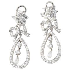 Belle Époque Style Diamond Bow and Flower Drop Gold Earrings