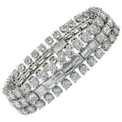 1950s Important 35 Carats Diamonds Platinum Bracelet