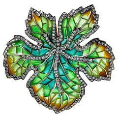 Plique a Jour Diamond Brooch