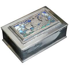 Silver & Enamel Galleon Cigarette Box By Omar Ramsden 1925