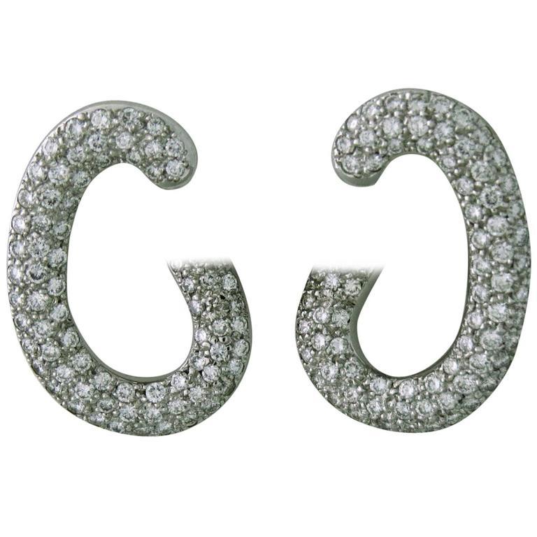 Pomellato Paisley Diamond Gold Earrings